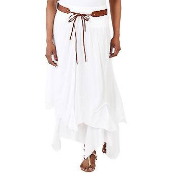 KRISP FemmeS Belted Maxi Jupe Boho Gypsy Tiered Aymmetric Hitched Long