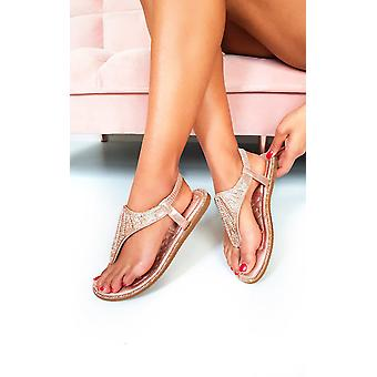 IKRUSH Womens Farah Diamante Impreziosito sandali t-bar