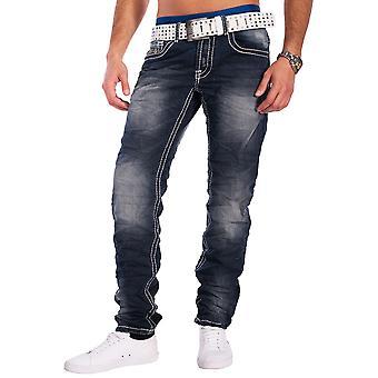 Men's Jeans thick seams robust vintage wash 5-pocket denim trousers Regular Fit