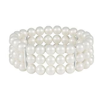 Eternal Collection Cavendish Three Strand White Pearl Stretch Cuff Bracelet