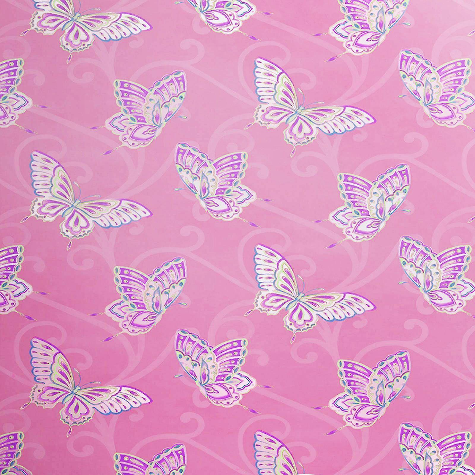 Papillon Butterfly Motif Pink Lilac Wallpaper Girls Bedroom Gold Metallic Holden