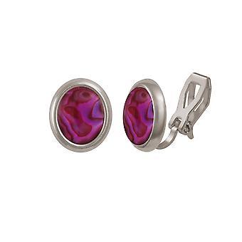 Eternal Collection Minuet Purple/Fuchsia paua Shell Silver Tone Stud Clip korva korut
