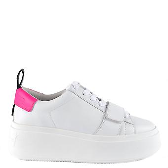 Ash MIRACLE Platform Trainers White Leather & Neon Pink