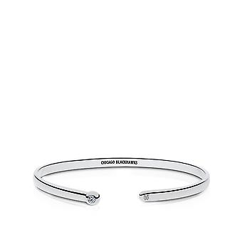 Chicago Blackhawks Engraved Sterling Silver Diamond Cuff Bracelet
