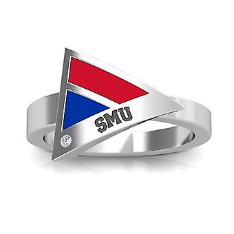 Southern Methodist University Engraved Sterling Silver Diamond Geometric Ring In Red and Blue