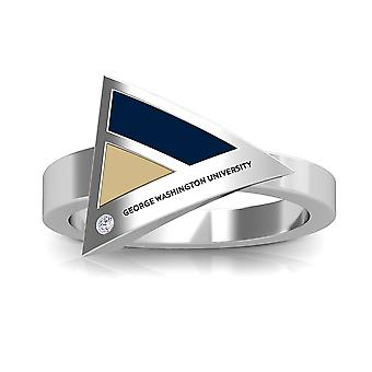 The George Washington University Engraved Sterling Silver Diamond Geometric Ring In Blue & Tan