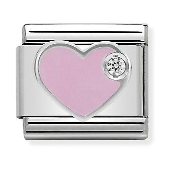 Nomination Classic Pink Heart Steel, Enamel, CZ and 925 Silver Link Charm 330305/02
