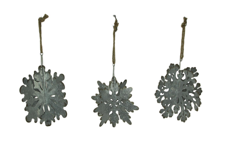 Rustic Galvanized Metal Giant Hanging Snowflake Ornament Set of 3