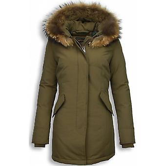 Fur coats - Wintercoat Wooly Lang - Fur Collar - Parka - Khaki