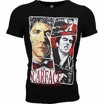 Camiseta-Scarface Marco Impresión-Negro