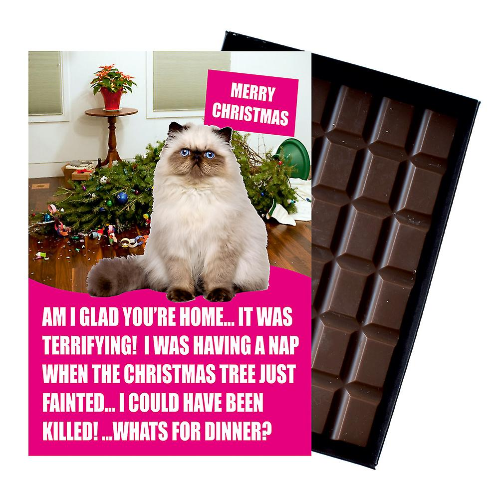 Persian Cat Christmas Gifts Funny Xmas Presents for Cat Lovers Boxed Chocolate Greeting Card