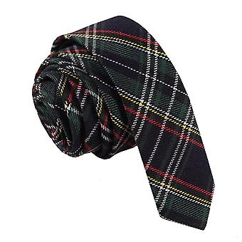 Svart & grön med smala ränder Tartan smal slips