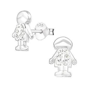 Boy - 925 Sterling Silver Crystal Ear Studs - W22271X