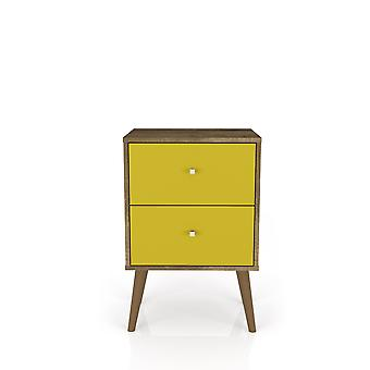 Manhattan comfort  liberty mid century - modern nightstand 2.0 with 2 full extension drawers in rustic brown and yellow