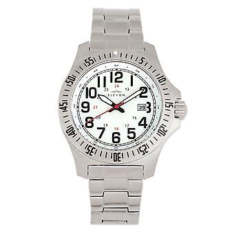 Elevon Aviator Bracelet Watch w/Date - Silver/White