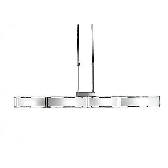 Mantra Duna E27 Pendant 4 Light E27 Bar, Polished Chrome/White Acrylic