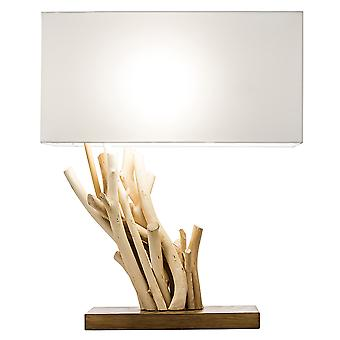 Modern Home Angled Driftwood Nautical Wooden Table Lamp - Natural Materials - Handcrafted Design