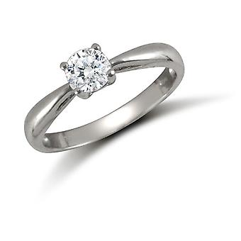 Jewelco Londen dames solide 9ct wit goud wit ronde briljante Cubic Zirconia Solitaire Verlovings ring