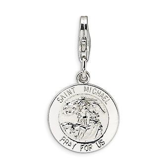925 plata esterlina Rhodium plateado langosta de lujo langosta Medalla De Miguel con cierre de langosta encanto colgante collar M