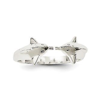 925 sterlinghopea kiinteä kiillotettu delfiini toe rengas koruja lahjoja naisille - 1,4 grammaa