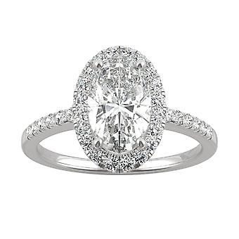 14K Gold Moissanite by Charles & Colvard 10x6mm Elongated Oval Halo Engagement Ring, 2.62cttw DEW