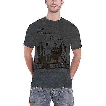 The Libertines T Shirt Likely Lads band logo Official Acid Wash grey mens