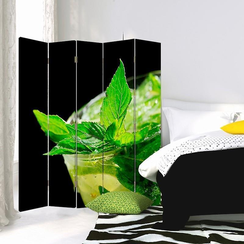 Diviseur de chambre, 5 panneaux, double-sided, toile, menthe rafraîchissante