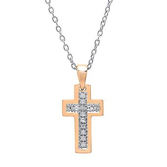 Dazzlingrock Collection 0.10 Carat (ctw) 14K Round Diamond Ladies Cross Pendant 1/10 CT (Silver Chain Included), Rose Gold