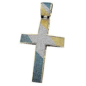 Dazzlingrock Collection 2,50 Carat (CTW) żółty platerowany niebieski, żółty & biały diament mężczyźni krzyż wisiorek, srebro