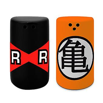 Dragon Ball Salt and Pepper Scattered Cameo & RR black/orange/red, made of ceramic, in gift box.