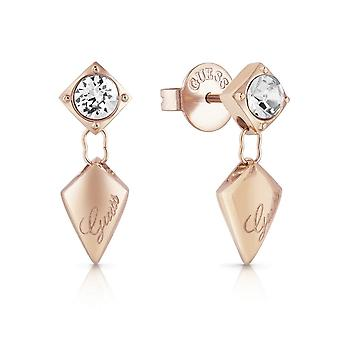 Guess Jewellery Quilted Stud Rose Gold Earrings UBE29099