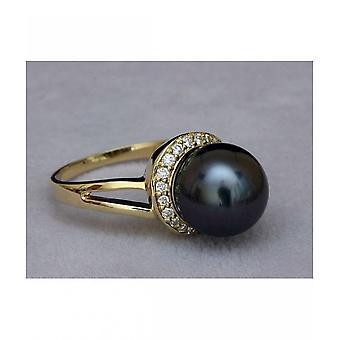 Luna-parels Tahitiperlen ring met diamanten