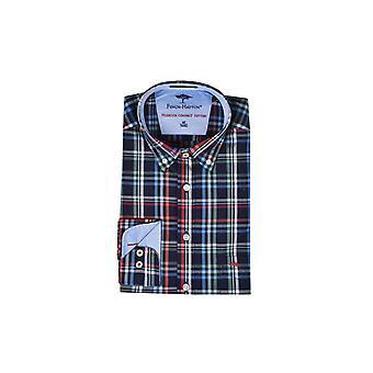 Fynch-Hatton Fynch Hatton Maritime Long Sleeve Shirt Navy Madras