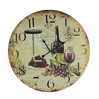 Faux Aged Red Wine Lovers Wall Clock 23 inch