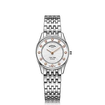 Rotary Ultra Slim Quartz White Dial Silver Stainless Steel Ladies Watch LB08300/01/D