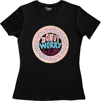 Donut Worry, Be Happy Black Women's Camiseta