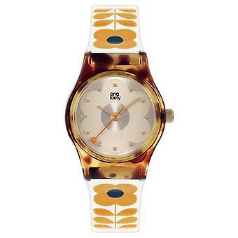 Orla Kiely Baby Bobby | Schildpad Shell Case | Cream Plastic Strap OK2330 Horloge