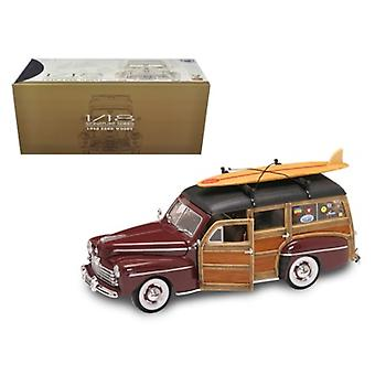1948 Ford Woody With Wood And Surfboard Burgundy 1/18 Diecast Model Car by Road Signature