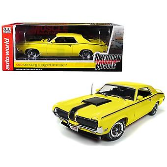 1970 Mercury Cougar Eliminator Competition Yellow with Black Stripes Hemmings Muscle Machines Magazine (October 2004) Cover Car Limited Edition to 1002 pieces Worldwide 1/18 Diecast Model Car by Autoworld