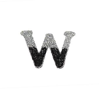Black and Silver Double Glitter Alphabet Sticker - W