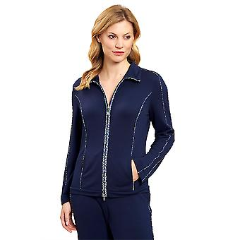 Féraud 3201076-10063 Women's Casual Chic Navy Blue Loungewear Jacket Top