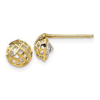 14k Yellow Gold Madi K CZ Cubic Zirconia Simulated Diamond Sparkle Cut for boys or girls Half Ball Post Earrings