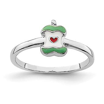 925 Sterling Silver Rhodium plated for boys or girls Enameled Apple Core Ring - Ring Size: 3 to 4