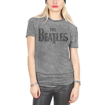 Beatles T-paita Drop T logo uusi virallinen naisten laiha sovi harmaa polttaa