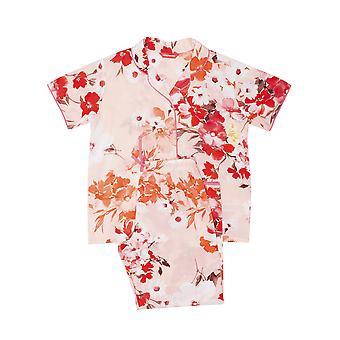Minijammies 5549 Girl's Darcie Coral Orange Floral Print Cotton Woven Pyjama Set