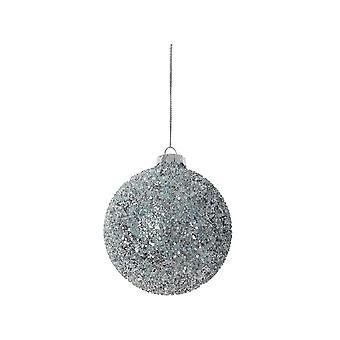 Lys & Levende Christmas Bauble Runde 8cm Ball Glass Lys Blå Glitter