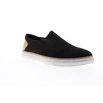 Zanzara Rivera  Mens Black Leather Slip On Sneakers Shoes