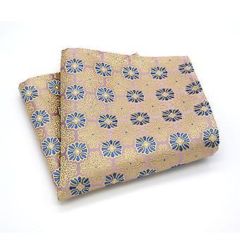 Pearl finish orange & blue geo pattern pocket square
