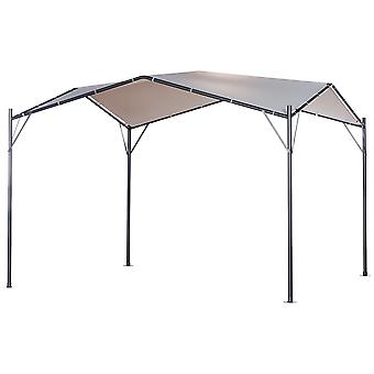 Outsunny 3.5x3.5(m) Outdoor Patio Gazebo Pavilion Canopy Tent Sunshade Steel Frame White