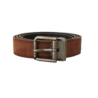 Dolce & Gabbana Brown Suede Leather Brushed Buckle Mens Belt